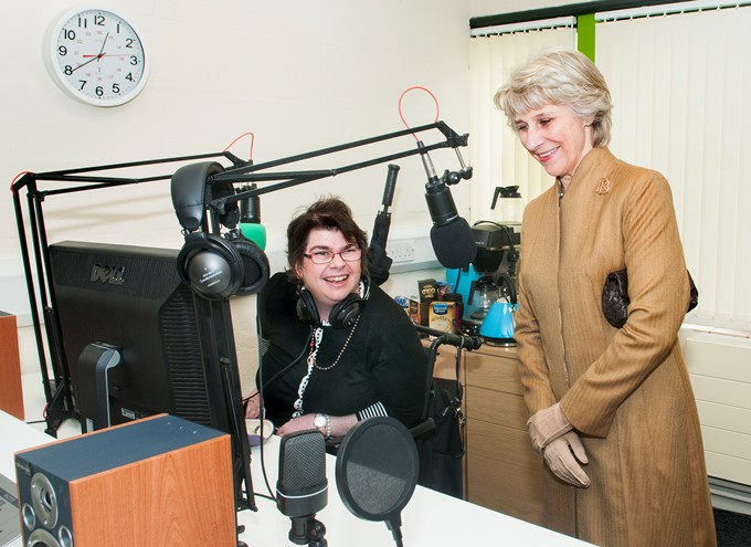 Duchess of Gloucester at Radio Enham with Lizzie.jpg