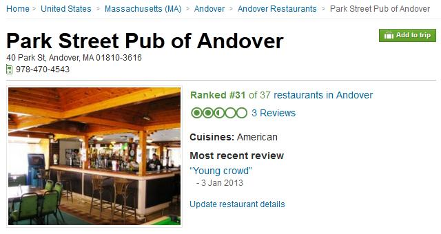 Trip Advisor Get The Wrong Andover