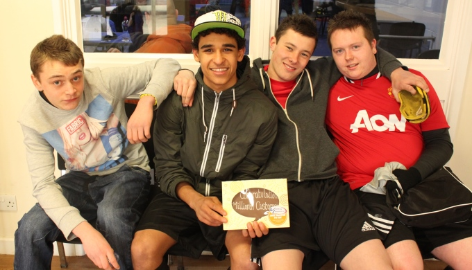 Jackson Silva (second left) with his envious mates