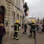 Firemen Net A Pigeon at Barclays