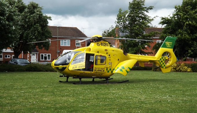 Air Ambulance in Tollgate Road in Andover