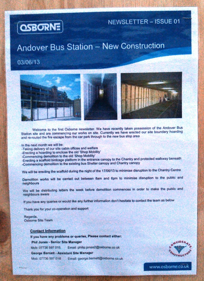Andover Bus Station Newsletter 1