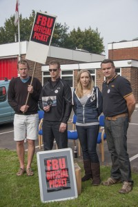 Right to Left, Rob Stone, Andover FBU Chair, Ali Stone, Ian Carpenter, Steve Worsnop