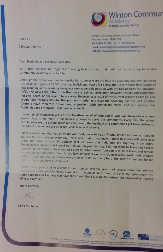 Winton Head Resignation Letter