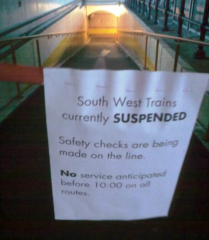 South West Trains Suspended
