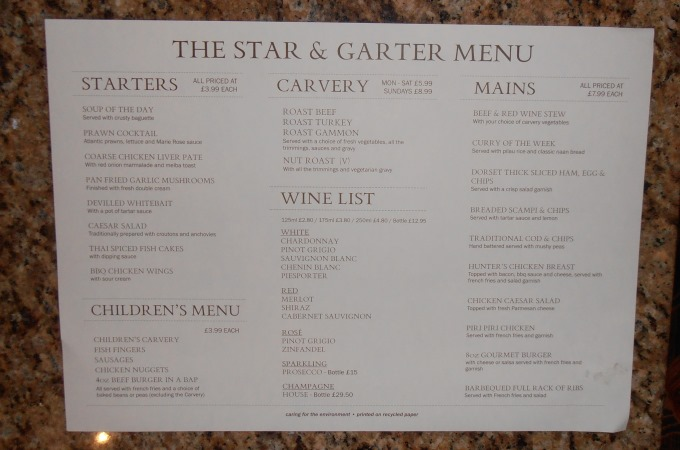 Star and Garter Andover - Menu