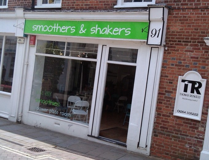 Smoothers and Shakers in Andover Shop Front