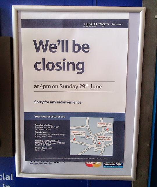Tesco Metro Andover Closing