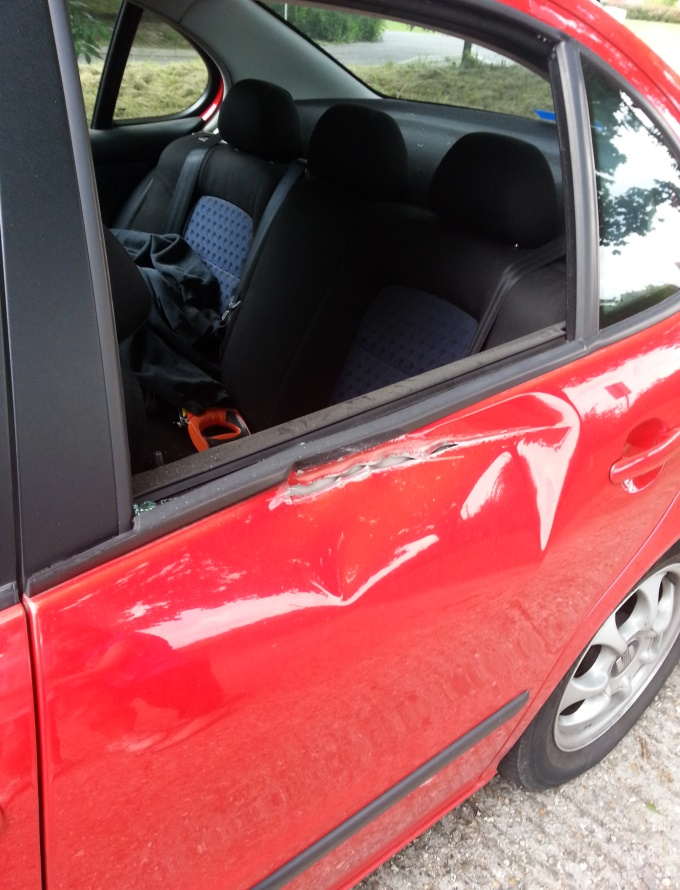 Red Seat Toledo Damaged on Roman Way