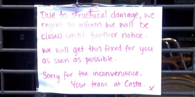 Costa Coffee Andover - Closed Notice