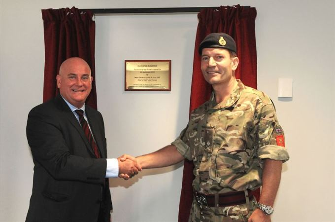 David Graham, DIO's Deputy Head of Projects and Major General Tyrone Urch declaring the new building open. (Crown Copyright)