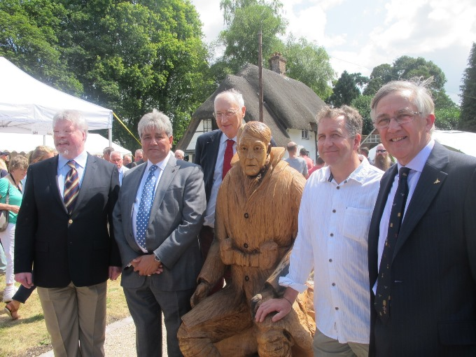 Sir George Young at the statue unveiling with Simon Weston, Khalid Aziz, Nick Speakman and Sir Gerald Howarth MP