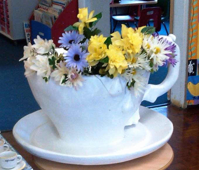 Flowers in a tea cup