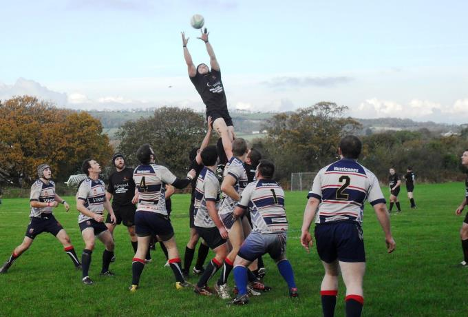 Andover RFC - Alex Morgan leaps high v Sandown and Shanklin