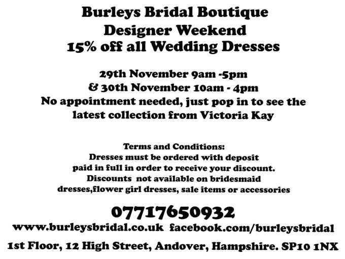 Burleys Bridal Boutique Designer Weekend Details