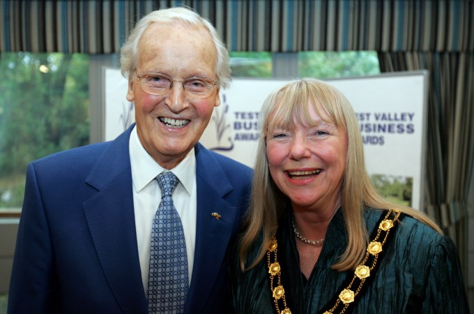 Nicholas Parsons with Mayor of Test Valley Jan Lovell