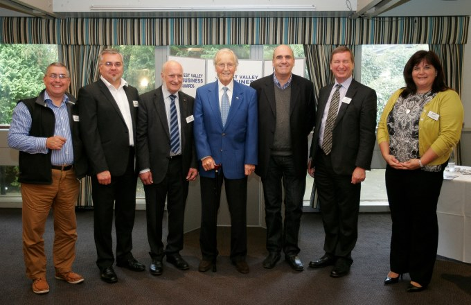 Nicholas Parsons with gold sponsors Peter Sherwood-Clarke ,Hendry Taylor, Peter Giddings, Mark Howard, Peter Birkett, Lisa Armstrong