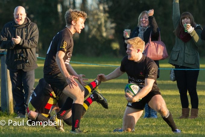 Andover vs Eastleigh Alex kane celebrates his stunning try with Charlie Waite