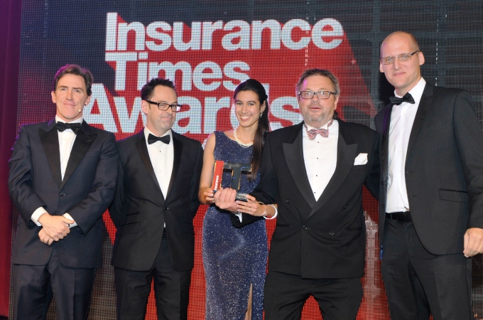 From left to right Rob Brydon, Ant Gould (CII), Lucy Gourlay (Be Wiser), Mark Bower Dyke (CEO Be Wiser) & Saxon East (Editor – Insurance Times).