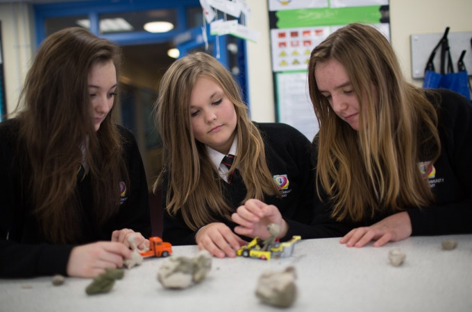 Jasmin Peters, Kaidee Fairchild and Chloe Harris in a science lesson during No Pens Day Wednesday