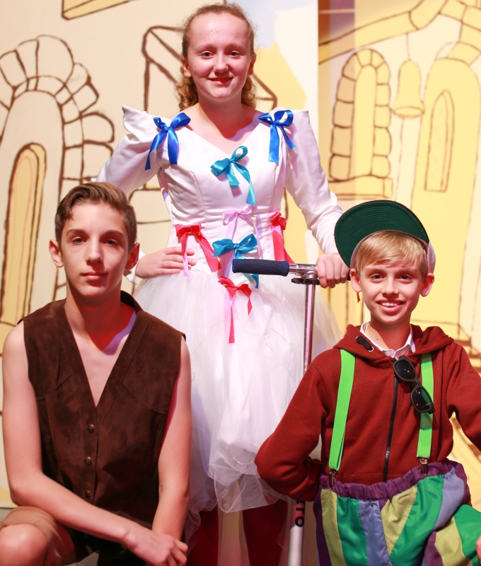 Megan Smith as Fairy Bowbells, Luis Wyatt as Simple Simon and Lewis Patterson as Dick Whittington.