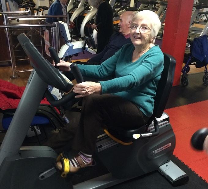 Rita Casey using the new equipment