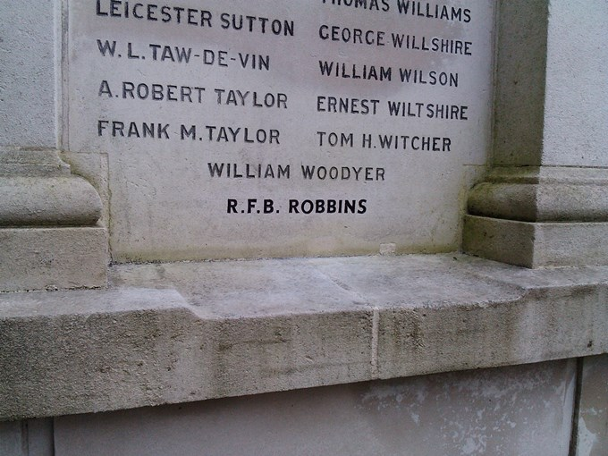 Andover War Memorial Rededication - Cpl Robbins Name