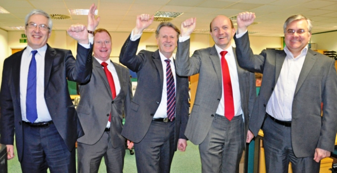 Hampshire Chamber Chief Executive Stewart Dunn, centre, wilth new directors, from left, Andrew Tilley, Paul Griffiths, Nick Barwood and Hendry Taylor.