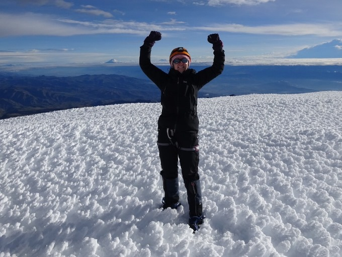 Kris Bickerton on Chimborazo, the point furthest away from the centre of the earth