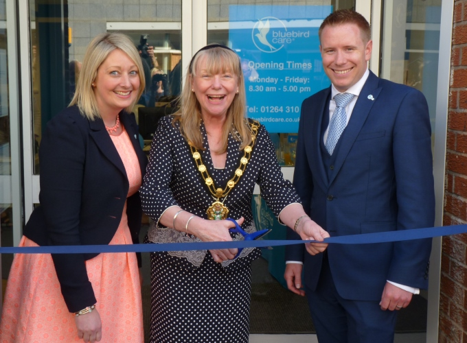 Bluebird Care's Claire and Norman Murphy with Mayor Jan Lovell