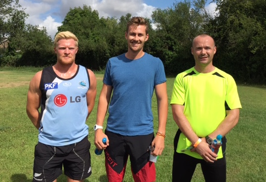 5k fun run winners in podium positions (left to right) - 3rd place Alex Kane, overall winner Harry Morgan and 2nd place Chris Hobson