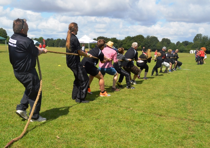 One of the tug-of-war competitions in the community games