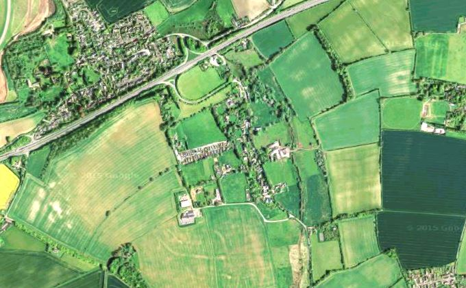 Aerial View of East Cholderton (image courtesy of Google Map)