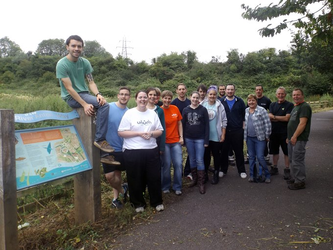 Unum volunteers with Enham Trust's Garden Services Team