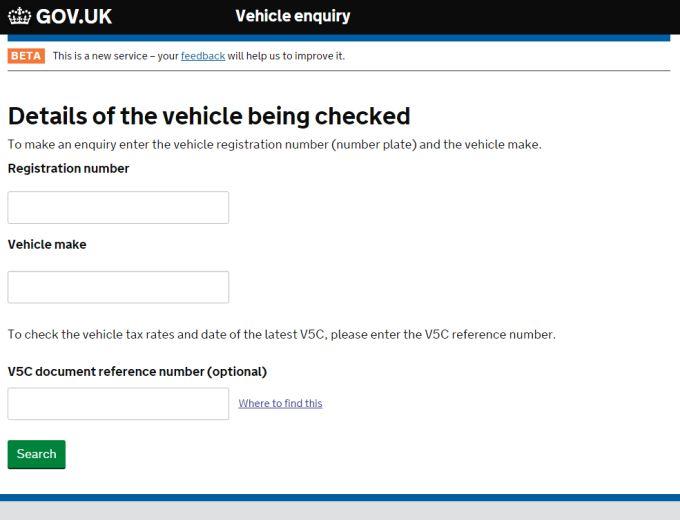 Gov UK Vehicle Enquiry Form