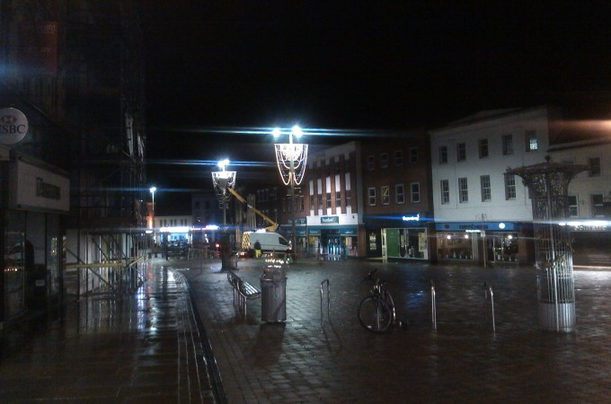 Andover Christmas Lights being installed on Monday night