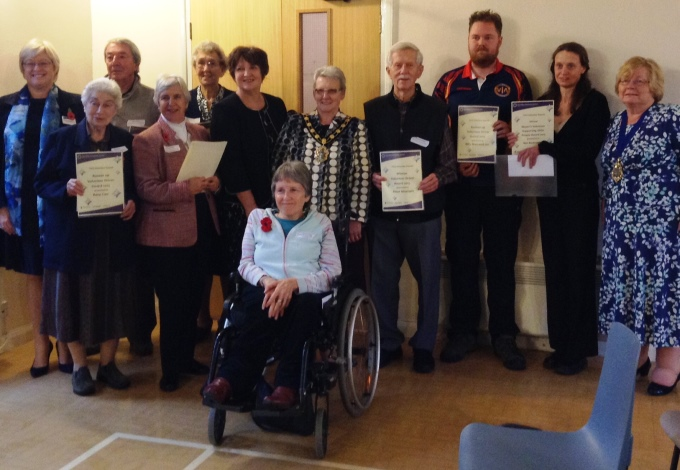 Volunteer Awards – winners, runners-up, with Terry Bishop, TVCS CEO, (far left); Mayor of Test Valley, Cllr Iris Anderson (centre) and Dorothy Baverstock, Chair of TVCS Trustees (far right).